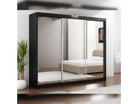 🎆💖🎆LIMITED TIME OFFER🎆💖🎆250 CM WIDE WARDROBE IN BLACK WHITE OR GREY
