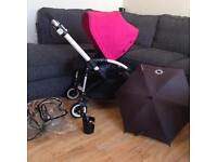 Bugaboo bee+ pram with pink Hood raincover and parasol