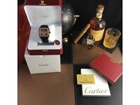 Black Cartier Santos 100 with Black Casing Blck Face and Rose Gold Bezel Comes Rolex Bagged an Boxed