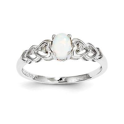 925 Sterling Silver Diamond & Oval Created Opal October Stone Heart Ring 5 - (Diamond Created Opal Heart Ring)