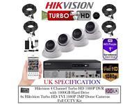 4 Cameras Turbo-HD CCTV KIT, 4CH HikVision Turbo-HD DVR, 4x Hikvison 2MP Dome Cameras