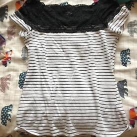 H&M Black & White Striped Lace T Shirt
