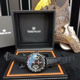New Mens bagged and boxed Tag Heuer Carrera caliber 17 chronograph watch black with black strap blac