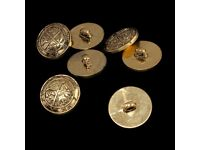 23mm Bronze Shank Buttons Emblem Design Decorative Fasteners For Sewing, Crafts, Woolen Clothes