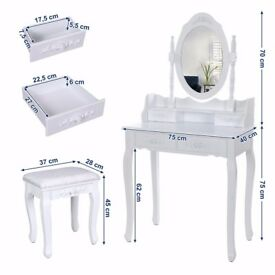 Brand New White Dressing Table with Stool & Mirror (unused - still in box)