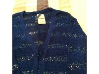 Brand new still has label on bought in Spain navy sparkly cardi