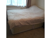 Double Divan bed with drawers & mattress. Hardly used!