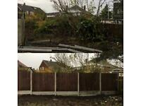 Garden Fence Replacement, Concrete Posts Replaced, Wooden Fence Replacement