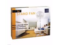 KNIGHT HOMEWARE 16 OSCILLATING STAND FAN WHITE