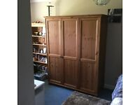 Antique pine 3 door wardrobe with hanging and shelving space