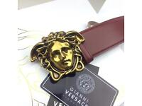 Matte gold buckle smooth leather red coloured belt for men versace boxed gift fashion