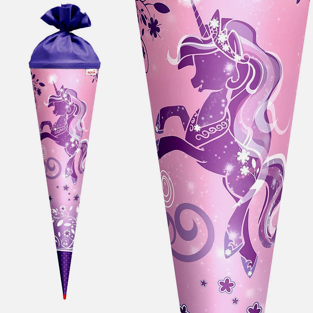 *ROTH*Einschulung*Zuckertüte*Schultüte*70cm*Purple Unicorn*Einhorn*Glitter*