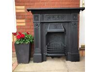 Refurbished Cast Iron Fireplace The Repton Fire Place Grate Surround Hearth Man Cave UK DELIVERY.