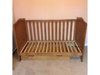 Cot bed, under bed drawer and cot top changer