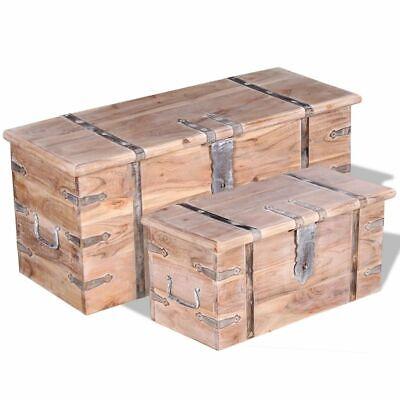vidaXL 2 Piece Solid Wood Storage Chest Set Lockable Coffee
