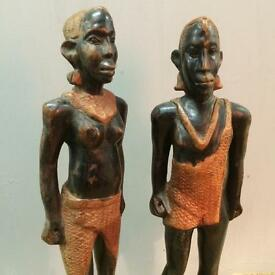 Pair of old wooden figures free delivery in London