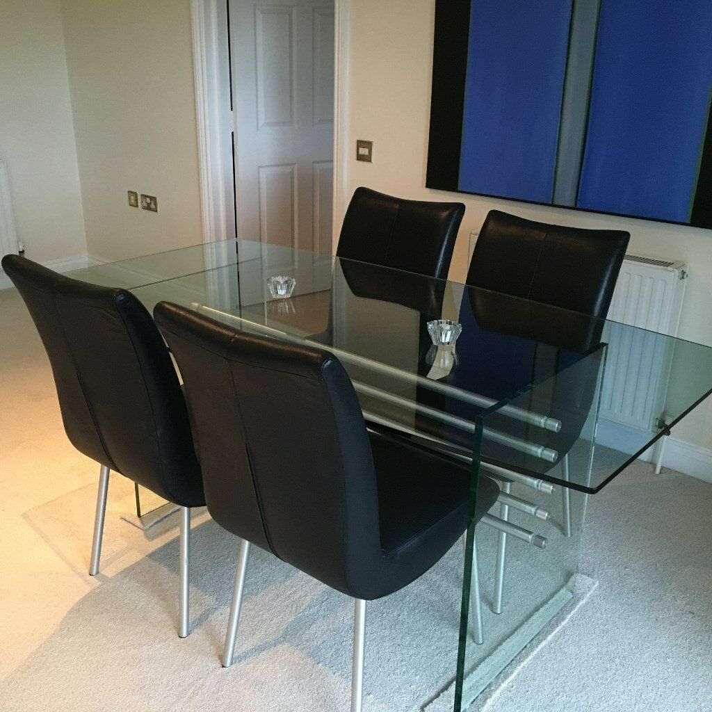 BEADLE CROME INTERIORS SMOKED GLASS DINING TABLE WITH 4 BLACK LEATHER  CHAIRS. CHROME LEGS Part 18