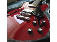 Cherry red epiphone 339 with custom case