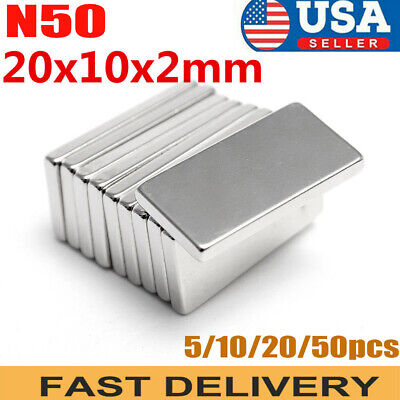 Lot 5 10 N50 Block Magnet 20x10x2mm Strong Square Neodymium Rare Earth Magnet