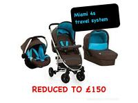 LAST SHOP DISPLAY HAUCK MIAMI 4 TRAVEL SYSTEM IN COFFEE AQUA BLUE FROM BIRTH TO 3 REDUCED TO CLEAR