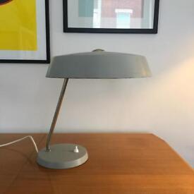 1960s grey metal table lamp. Louis Kalff for Phillips