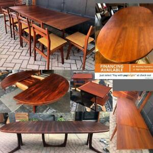 REFINISHED Danish Mid Century Modern Teak Walnut Rosewood Dining Extendable Tables, Coffee Tables