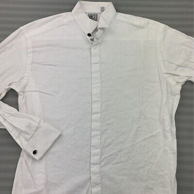 Versace V2 Mens Dress Shirt White Regular Wingtip Collar 100% Cotton USA 16