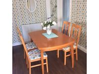 Beech veneer Extendable dining table and 4chairs