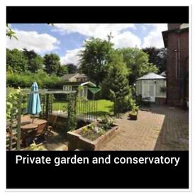 Fully furnished two bedroom ground floor flat with private entrance and garden