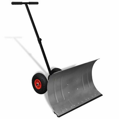 vidaXL Manual Snow Shovel with Wheels Garden Lawn Plough Blade Thrower Removal