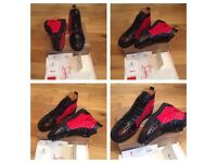 Christian Louboutin Red Black Studs Spikes Unisex Mens Boys Trainers Footwear Loubs Various Sizes