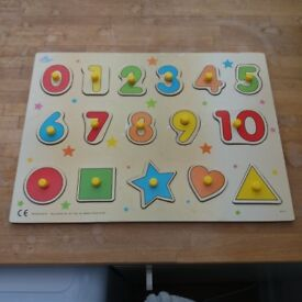 Children Kids Wood Wooden Creative Education Number Puzzle Board Toy