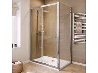 Bathroom Sliding Door Shower Enclosure. Tray and waste.