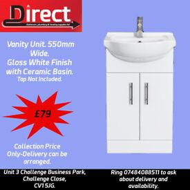 550mm Vanity Unit with Ceramic Basin.Washroom/Cloakroom Vanity Unit.White High Gloss Finish Kartell