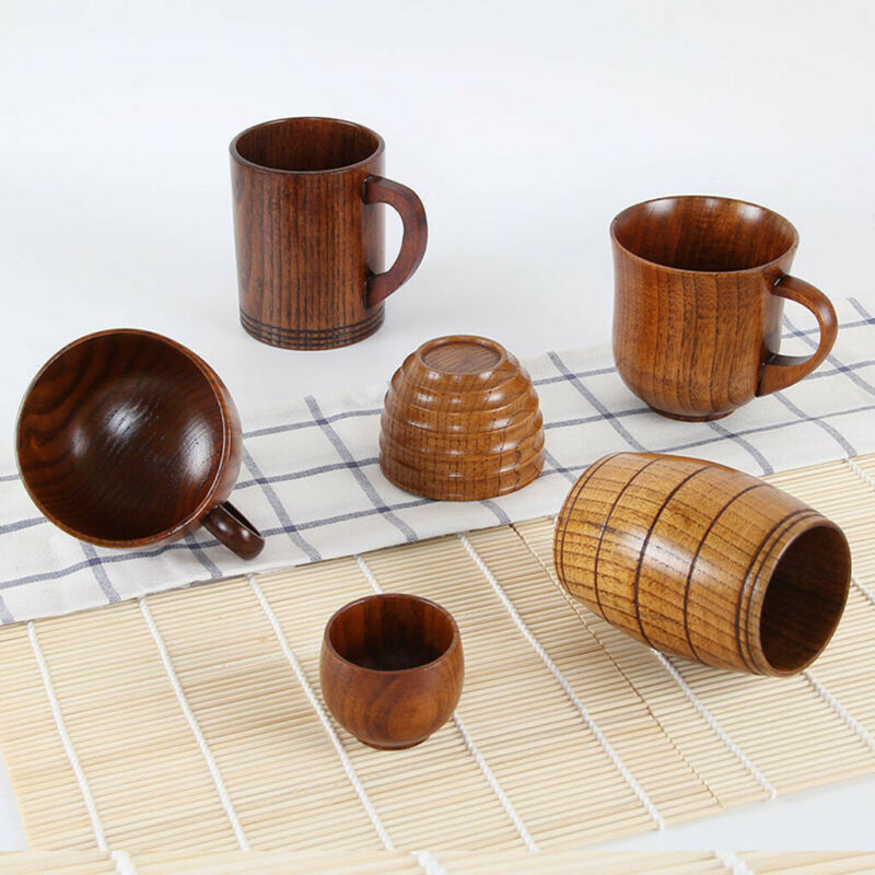 Wooden Beer Cup Coffee Tea Wine Water Drinking Solid Drinkin
