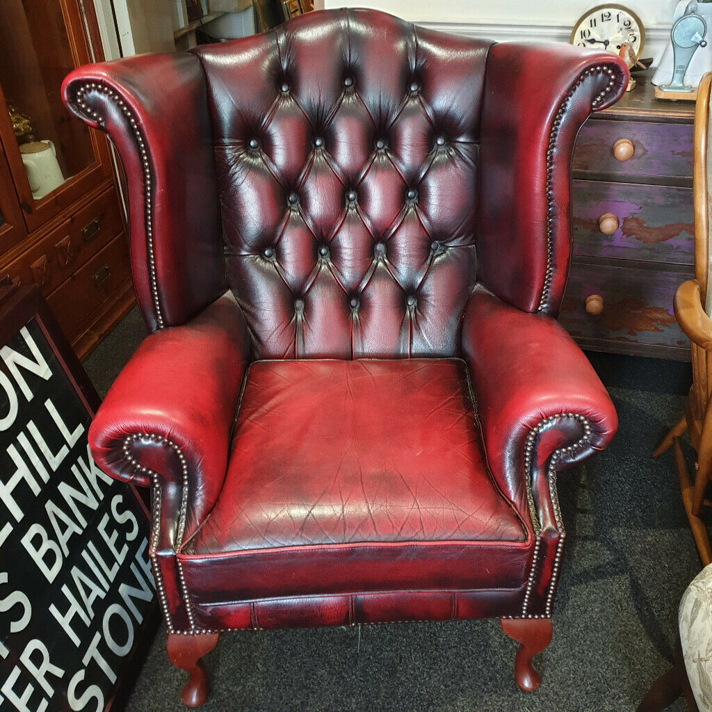 Super Stunning Antique Oxblood Leather Chesterfield Queen Anne Wing Chair In Edinburgh City Centre Edinburgh Gumtree Creativecarmelina Interior Chair Design Creativecarmelinacom