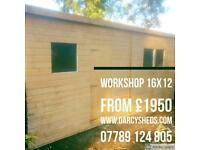 Workshop Shed £1950 16x12 all sizes made