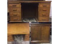Large vintage oak leather top desk