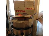 Tefal 3 tier Steamer 1000cl Chrome & Black New! Unused ! With Box