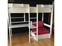 Stompa High Sleeper with chair/pull out single bed, shelves, desk and quality single mattress.