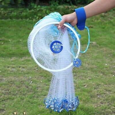 Magic Hand Cast Fishing Net Spin Network Easy Throw Bait Nylon Mesh Super 3M USA