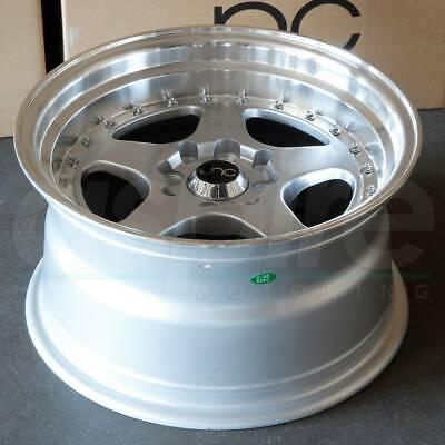 17x8 Silver Machine Lip Wheels JNC 010 JNC010 5x114.3 30 (Set of 4)