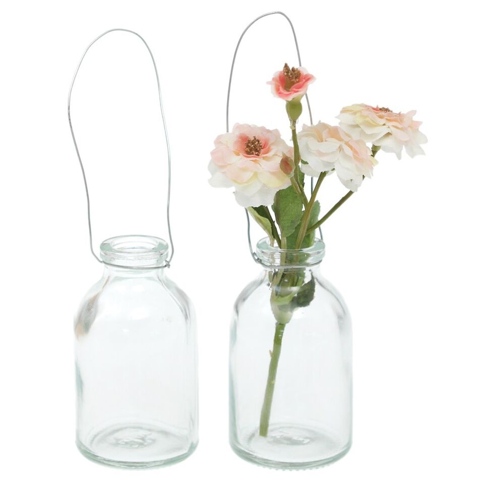 dotcomgiftshop HANGING CLEAR MINI BOTTLE. PETITE POSY VASE WEDDING TABLE DECOR