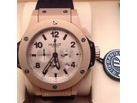 new full package mens rose gold face rose gold ceramic casing rubber bracelet Hublot Fusion watch wi