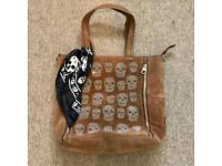 Stylish skeleton large brown handbag