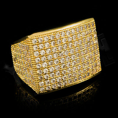 18K Gold 19mm FULLY ICED OUT 360 Simulated Diamond Band MICROPAVE Mens Ring