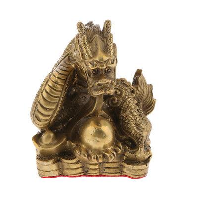 Lucky Money Brass Chinese Zodiac Animal Sculpture Feng Shui Dragon Statue