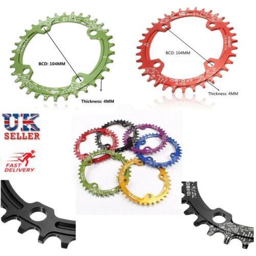Bike Narrow Wide Round Chainring Ring BCD 104mm 32 34 36T Single Tooth Chain UK