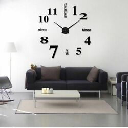 Black DIY Large Wall Clock 3D Mirror Surface Sticker Big Number Watch Decor New