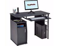 Computer Desk with Cupboard Shelves Storage - Piranha Elver PC 1 - Black